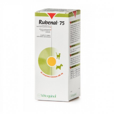 Vetoquinol Rubenal 75 - 60 tabl. - preparat wspomagający nerki psów, kotów